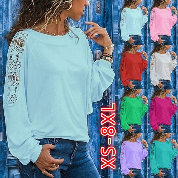 Plus Size, Cotton T Shirt, Hollow-out, Long Sleeve