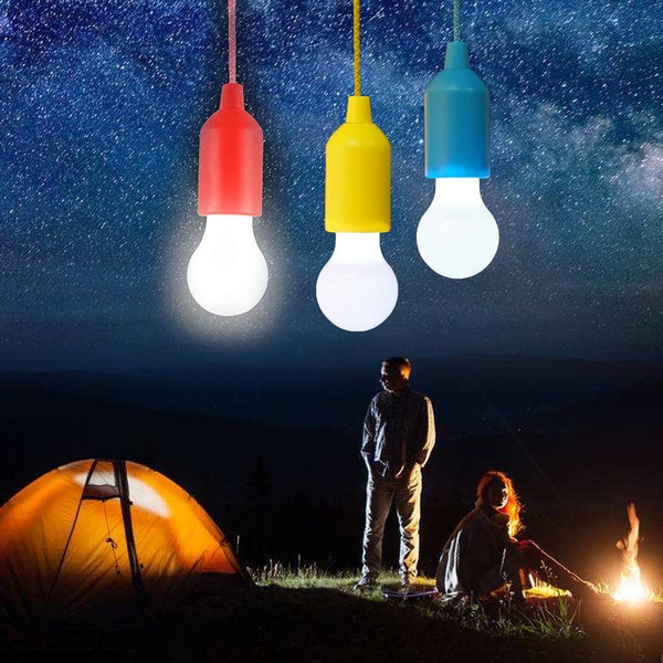 Hanging Spherical LED Camping Lamp Tent Bulb Garden Lights Pull Cord Light