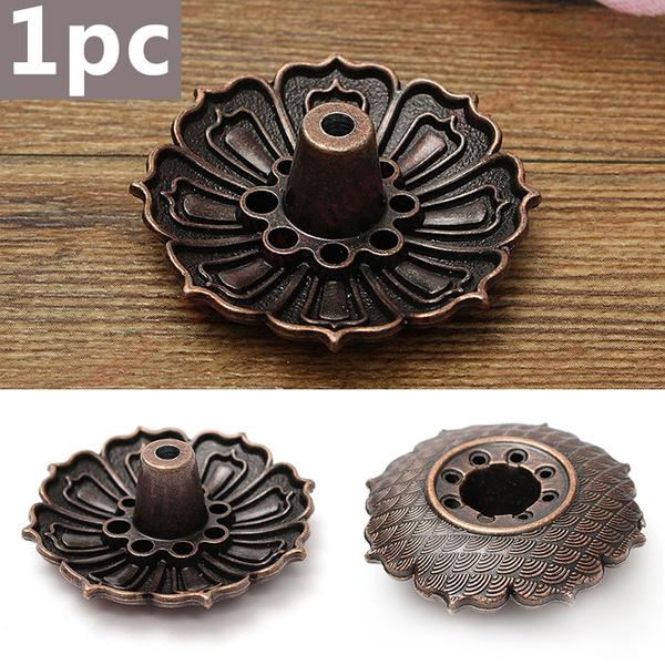 9-Stick Hole Lotus Incense Burner Holder Buddha Flower Statue Censer Plate Cones