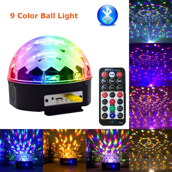Led Disco 9 Color Light With Mp3 Player Bluetooth Speaker Disco Ball Laser Party Lights 18w Dj Stage Lamp Lumiere Soundlights
