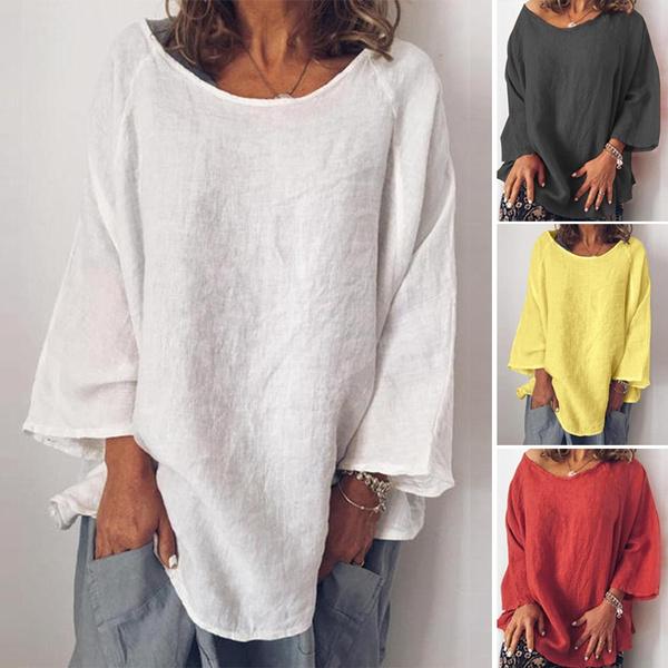blouse, Plus Size, cottonlinen, long sleeved shirt