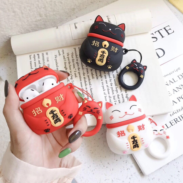 New Chinese Style Lucky Cat Case For Apple Airpods Earphone Headset Silicone Protective Case Box Cover (Note: No Headphones, No Hard Shell) by Wish