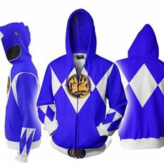 Mighty Morphin Power Rangers 3D Printing Hoodie Sweater Zipper Sweatshirt Coat