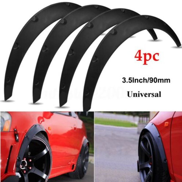 4Pcs 3.5//90mm Universal Flexible Car Fender Flares Extra Wide Body Wheel Arches