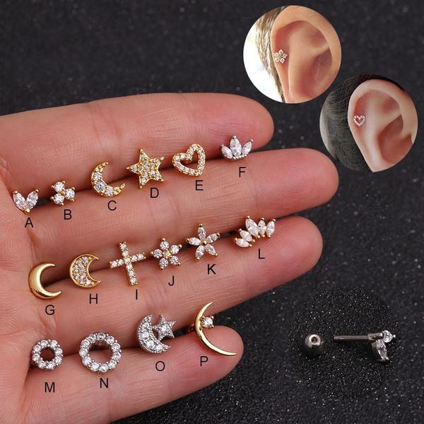 Star, Jewelry, Sterling Silver Earrings, piercing