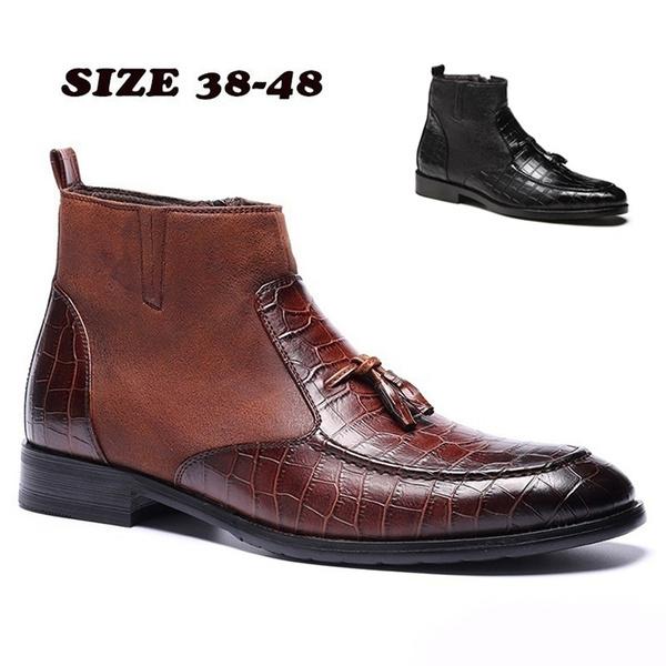 Plus Size 39 48 Men Vintage Pointed Toe Chelsea Ankle Boots Winter Warm Plus Velvet Snow Boots Business Casual Shoes Botas Stövlar Stivali Stiefel