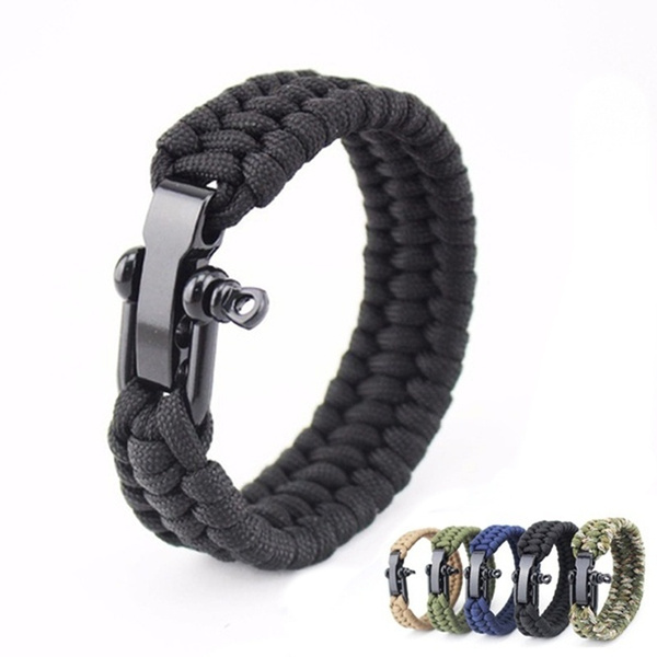 Survival Rope Camouflage Paracord Bracelet Outdoor Camping Hiking Steel Shackle