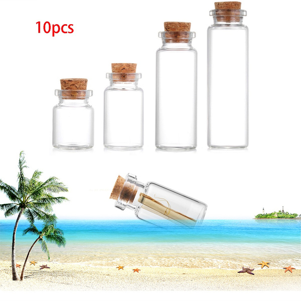 Empty Wishing Blank Transparent Tiny Small With Cork Stopper Message Bottles