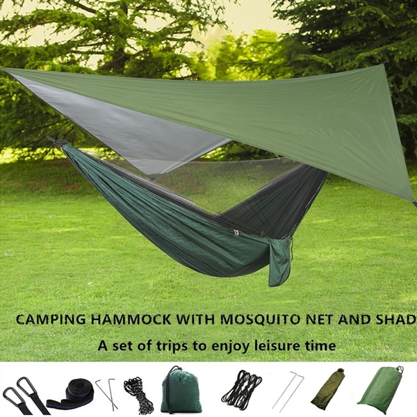 Elevens Outdoor Mosquito Net Hammock with Waterproof Sunshine Tent Rain Fly Tent Tarp