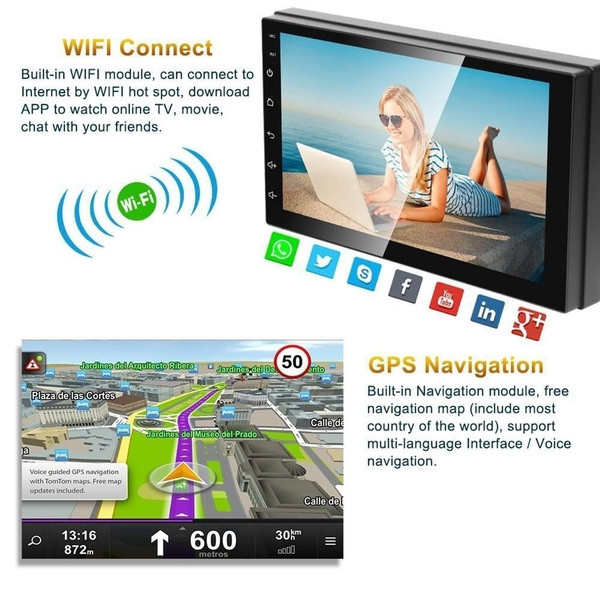 7''Bluetooth Double 2Din Autoradio Mit GPS FM MP5 Player Car Audio Stereo  Radio USB Android 8 1