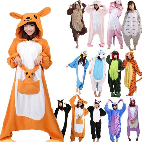 Adult Pink Pig Pajamas Halloween Costume Animal One Piece Cosplay For Women Men
