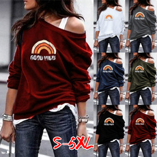 Fashion, Shirt, letter print, Long Sleeve