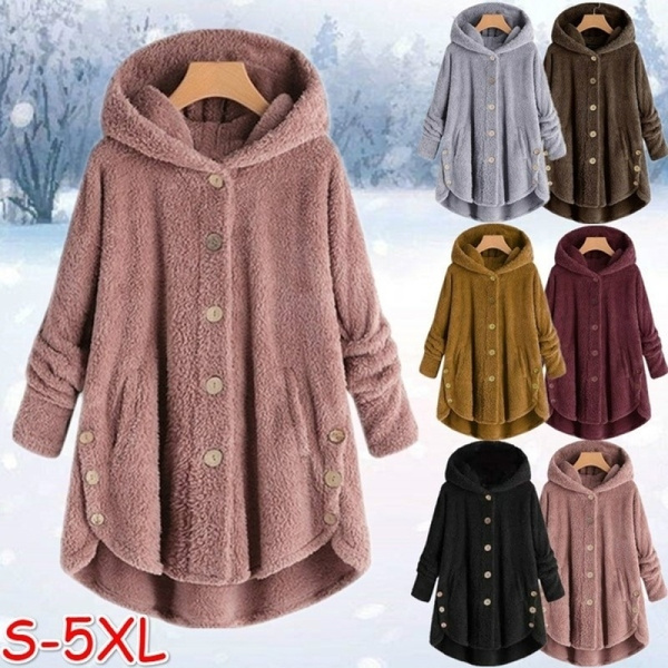 the best new appearance top brands Fashion Women Coats Autumn Winter Outwear Tops Solid Color Plush Hoodies  Loose Warm Faux Fur Cardigan Coat with Pocket Plus Size S-5XL