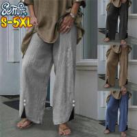 ZANZEA Damen Lang Hose Freizeithosen Zipper Pocket Plain Office OL Tregging Hose