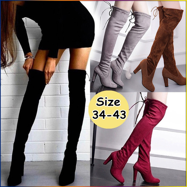 2019 Autumn and Winter Fashion High Heels Over Knee Boots Elasticity Long Boots (Please Buy Larger Size Than Usual)