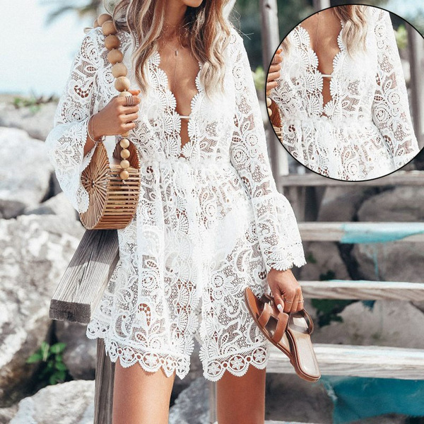 New Fashion Summer Women Sexy Lace Dress Long Sleeve V Neck Loose Causal Dress Solid Color Beach Cover Up Dress