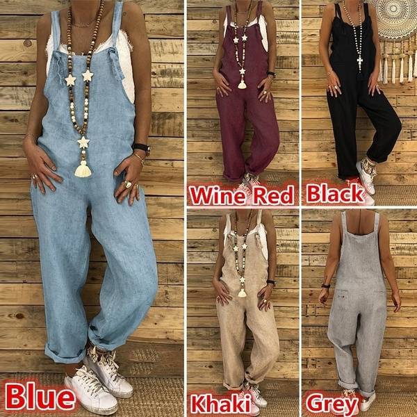Summer, Women Rompers, Plus Size, women long pants