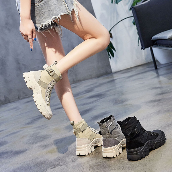 Woman Spring Autumn Ankle Boots Lace Up Canvas Boots High Top Shoes