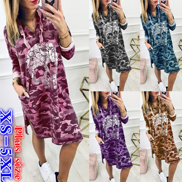 Autumn Winter Dress Women V-neck Dress Casual Long Sleeve Dress Ladies  Camouflage Skull Printed Dress Female Loose Cap Mid-long Dress Plus Size ...