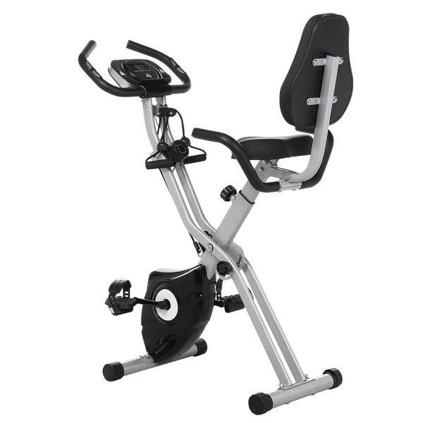 Folding 10 Levels Magnetic Resistance Upright Exercise Bike With Backrest  Pad
