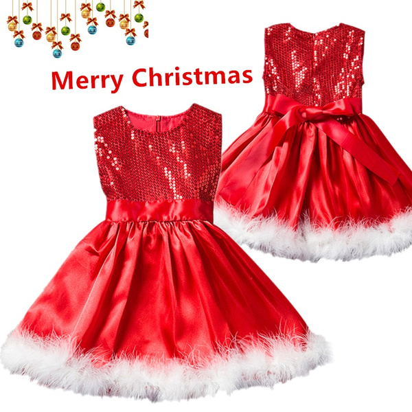 Girls Princess Red Sleeveless Knee,Length Christmas Party Dresses Halloween  Costume Kids Baby Sequins Dress For 1,8 Years