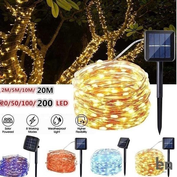 50 100 200 LED Solar Power Fairy Lights String Garden Outdoor Party Wedding Xmas