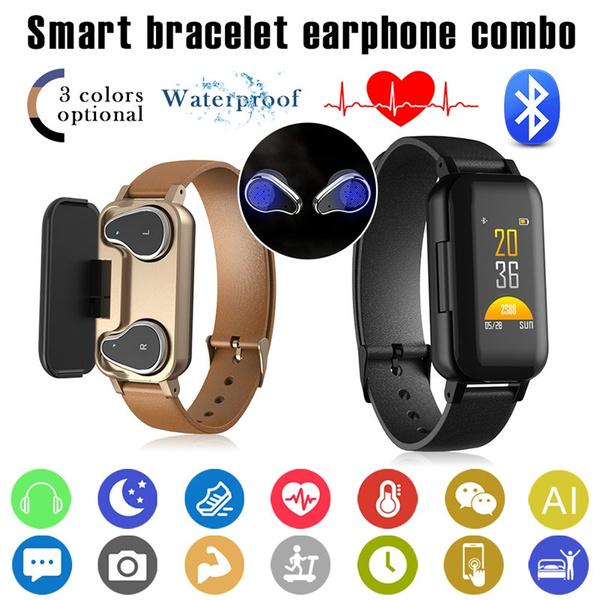 T89 Tws Smart Bina Bluetooth Headset Fitness Bracelet Heart Rate Monitor Smart Bracelet Sports Watch Headset Two In One Men And Women Wish