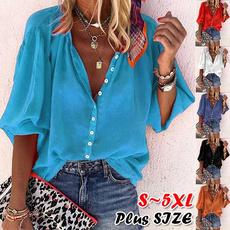 blouse, fashion women, Plus Size, 34sleeve