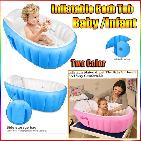 Baby Infant Inflatable Bath Tub Seat Mommy Helper Kid//Toddler Portable Bathtub