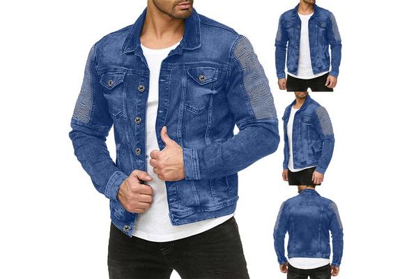 Wamvp Chaqueta de Mezclilla con Capucha para Hombre Chaqueta De Vaquero Manga Larga Denim Jacket Outwear Abrigo oto/ño Invierno Cl/ásico Jacket Jeans