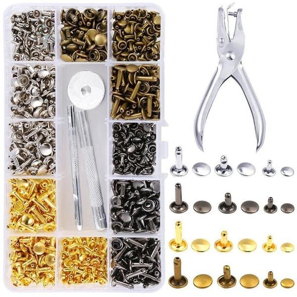 180Pcs Leather Rivets Double Cap Rivet Tubular Metal Studs DIY Fixing Tool Kit