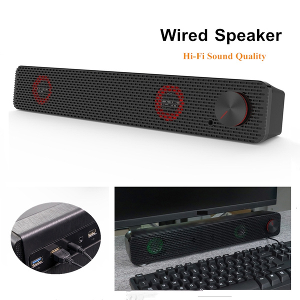 Smalody Soundbar Computer Speaker 3.5mm Wired Sound Bar USB Powered Speakers