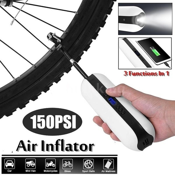 150PSI Bike Electric Inflator MTB Cycling Car Air Inflator with Power Bank Pump