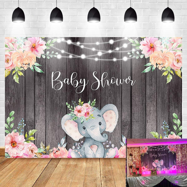Elephant Baby Shower Background Pink Baby Girl Elephant Backdrop 7x5ft Vinyl String Lights Wooden Floral For Girl Birthday Party Banner Backdrops Wish
