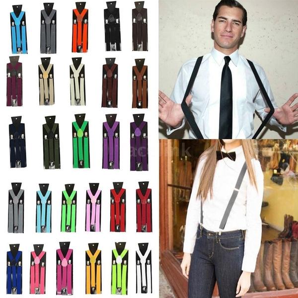Unisex Men Women Clip-on Suspender Elastic Y-Shape Adjustable Braces 19 Colors