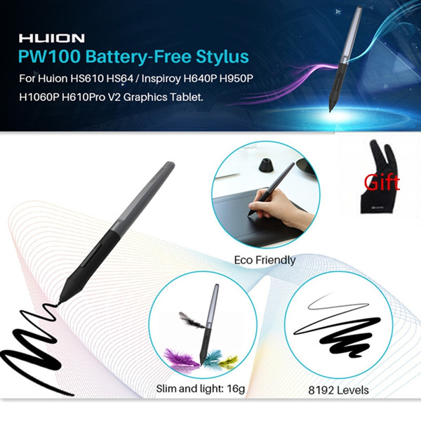 Huion Battery-Free Pen PW100 8192 Level Digital Pen for H640P H950P H1060P  Graphic Drawing Tablet with Anti-fouling Glove as Gift