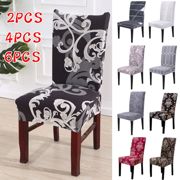 Magnificent 2 4 6Pcs Baroque Chair Cover Dining Seat Cover Black Slipcover Chair Removable Furniture Covers Anti Dust Spandex Chair Covers Alphanode Cool Chair Designs And Ideas Alphanodeonline