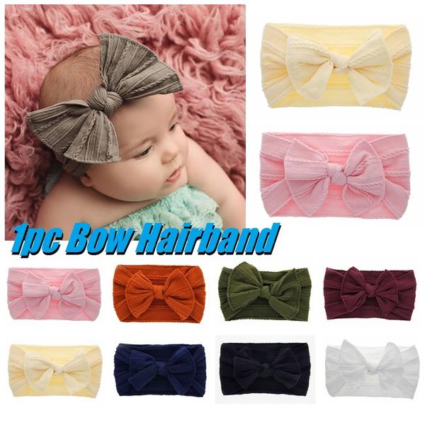 Baby Girl Soft Nylon Headwrap Headband Hairband with Big Bow Elastic Toddler 1PC