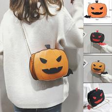women bags, halloweenpumpkinbag, chainmessengerbag, Chain