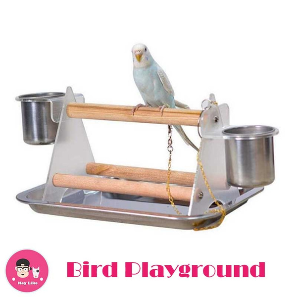 Bird Playground Birdcage Playstand Parrot Play Gym Parakeet Cage Decor Budgie Perch Stand With Feeder Seed Cups Ladder Hanging Swing Chew Toys Conure