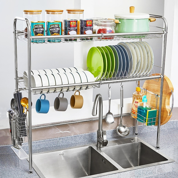 Over The Sink Dish Drying Rack.Us Stock Over Sink Dish Drainer Stainless Steel Double Layer Drying Rack Dish Drainer Rack Kitchen Organizer