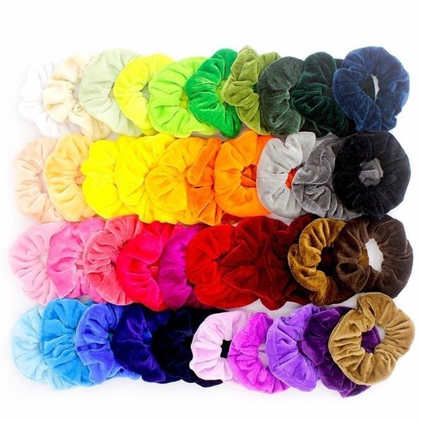 5/10/15/20 Pcs/Velvet Band Scrunchie Elastic Hair Ties Headwear Rope Adult Hair Rope Hair Accessories Band Simple Hair Ties Or Girls Hair Accessories(Random Color) by Wish