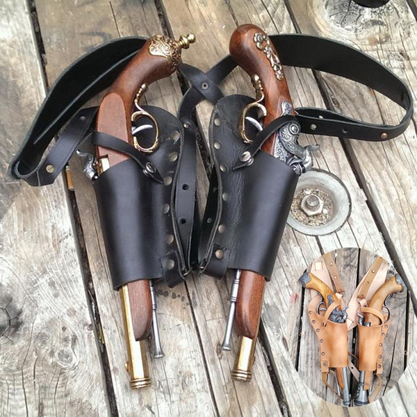 LARP Pirate leather belt single holster for flintlock pistol Pirate cosplay!