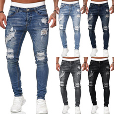 rippedhole, men jeans, Fashion, pencil