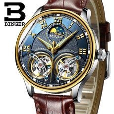 bingerautomaticwatch, doubletourbillon, leather, Jewelery & Watches