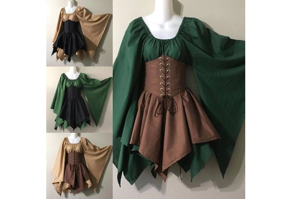 2019 New Women Medieval Vintage Skirt Lace Up Dress Halloween Costume Cosplay