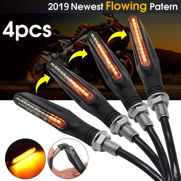 4x New Motorcycle LED Turn Signal Light Sequential Flowing LED Indicator Amber