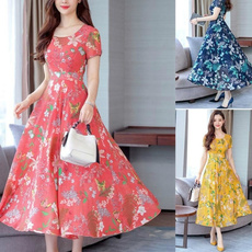Summer, short sleeve dress, femaleclothe, long dress