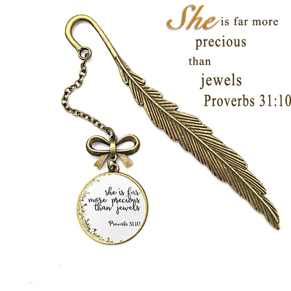 Bible Verse Metal Feather Inspirational Bookmarks, Christian Inscription  Gifts for Friends and Family (Proverbs 31:10)