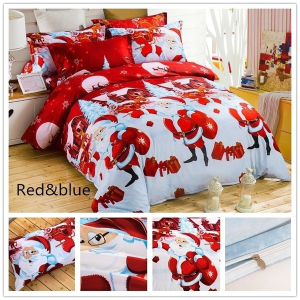 Christmas Comforter.Quilt Cover Christmas Bedding Santa Claus Bedding Queen Christmas Decor Comforter Sets Christmas Duvet Set Queen Size With Pillowcase Set Red Bedding